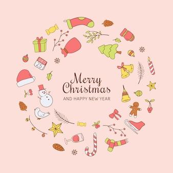 Frohe weihnachten hand gezeichnete skizze kranz