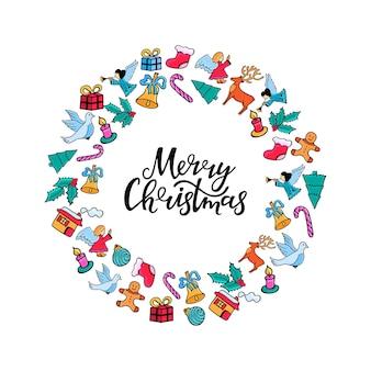 Frohe weihnachten-hand-schriftzug. festlicher runder rahmen für das neue jahr im doodle-stil.