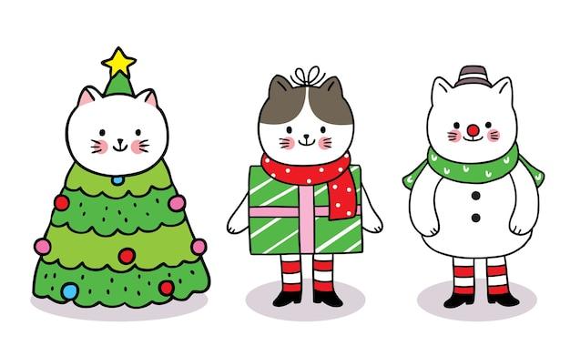 Frohe weihnachten hand zeichnen cartoon niedlichen maskottchen katzen baum weihnachten und geschenkbox und schneemann.