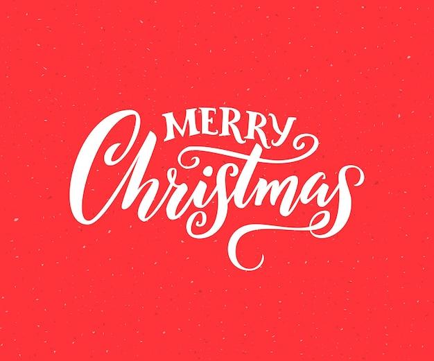 Frohe weihnachten. handgemachter schriftzug für grußkarten, vintage-stil. weiße kalligraphie auf rotem hintergrund.