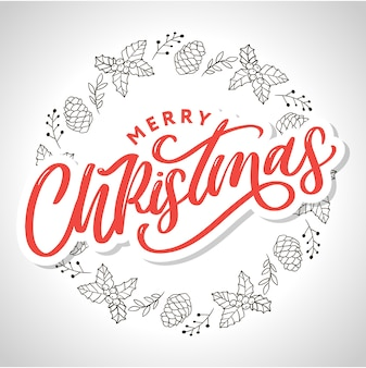 Frohe weihnachten handgeschriebene moderne pinselschrift