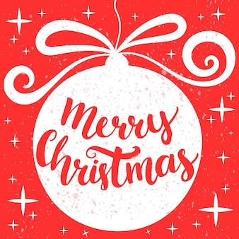 Frohe weihnachten. handgezeichnete grußkarte mit dekoration und schriftzug in runder form. vintage rote und weiße farben. vektor-grüße-design.