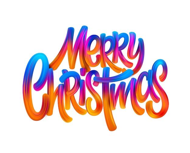 Frohe weihnachten handgezeichnete ölfarbenbeschriftung. regenbogenacryldekoration auf weißem hintergrund. weihnachtsfarbverlauf pinselstriche. weihnachtsfarbe-schriftzug. banner, poster 3d-design-element. isolierter vektor
