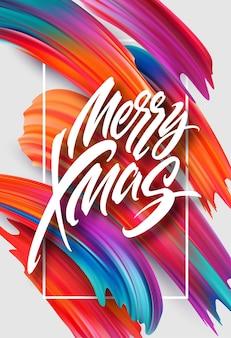 Frohe weihnachten handgezeichnete schriftzug banner-design. weihnachtsgruß mit regenbogen-acrylbändern. lebendige ölpinselstriche. frohe weihnachten. isolierte vektorillustration