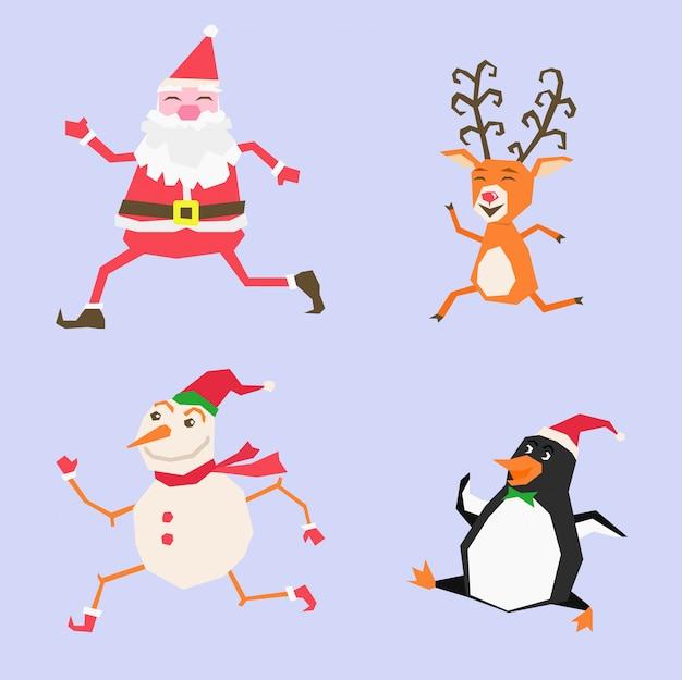 Frohe weihnachten happy christmas begleiter lustige santa claus schneemann rentier und pinguin