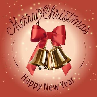 Frohe weihnachten, happy new year-schriftzug mit glocken