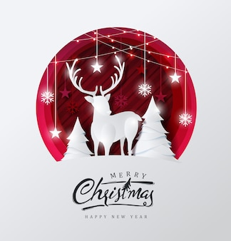 Frohe weihnachten hintergrund dekoriert mit hirsch im wald und stern papierschnitt stil.