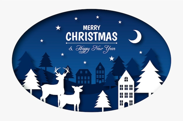 Frohe weihnachten hintergrund im papierstil