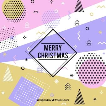 Frohe weihnachten hintergrund in einem memphis-stil
