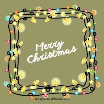 Frohe weihnachten hintergrund in einem rahmen von weihnachtsbeleuchtung
