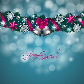 Frohe weihnachten hintergrund mit bokeh lichter
