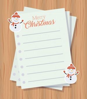 Frohe weihnachten hintergrund mit briefbögen