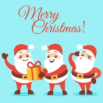 Frohe weihnachten hintergrund mit emotionalen santa cartoon-figuren der gruppenillustration