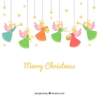 Frohe weihnachten hintergrund mit engeln