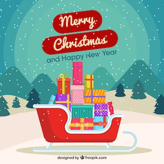 Frohe weihnachten hintergrund mit geschenken