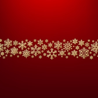 Frohe weihnachten hintergrund mit goldenen schneeflocken. grußkartenvorlage.