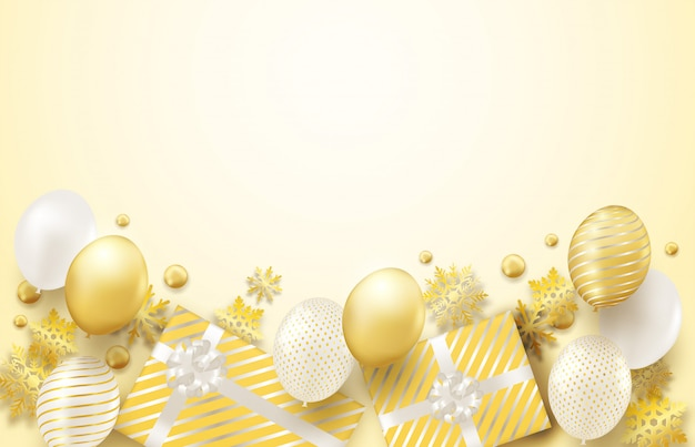 Frohe weihnachten hintergrund mit goldener dekoration
