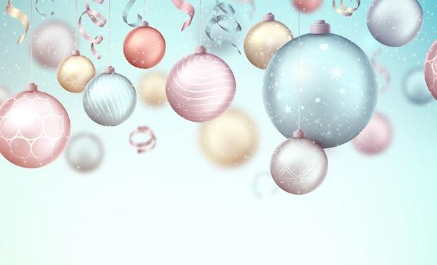 Frohe weihnachten hintergrund mit hängenden kugeln