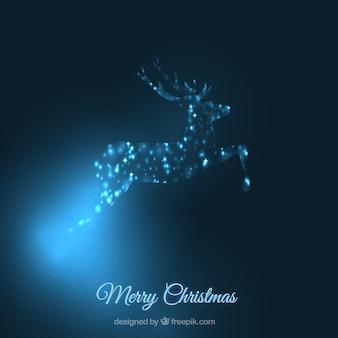 Frohe weihnachten hintergrund mit leuchtenden silhouette der rentiere