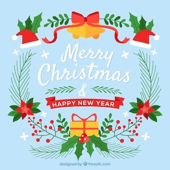 Frohe weihnachten hintergrund mit ornamenten in flachen design