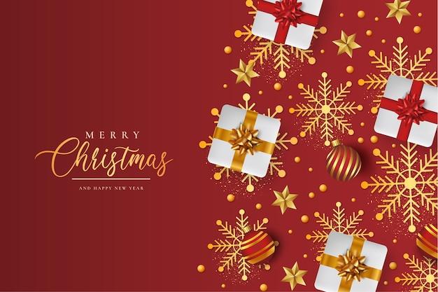 Frohe weihnachten hintergrund mit realistischem weihnachtsmuster