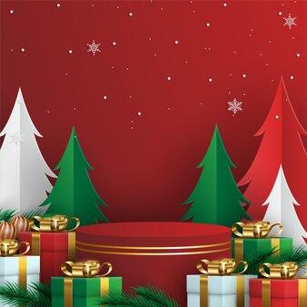 Frohe weihnachten hintergrund mit realistischen ornamenten und geschenken