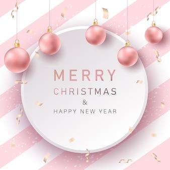 Frohe weihnachten hintergrund mit rosa realistischen kugeln
