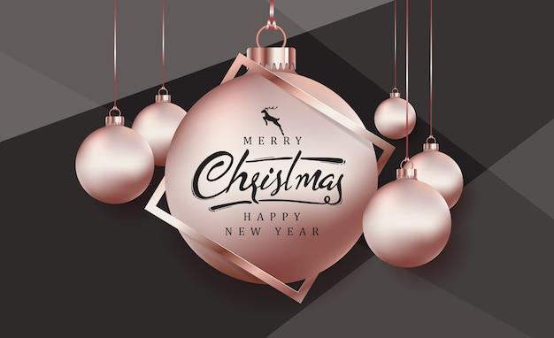 Frohe weihnachten hintergrund mit roségold weihnachtskugel ornament.