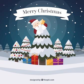 Frohe weihnachten hintergrund mit santa claus und schneebedeckten baum