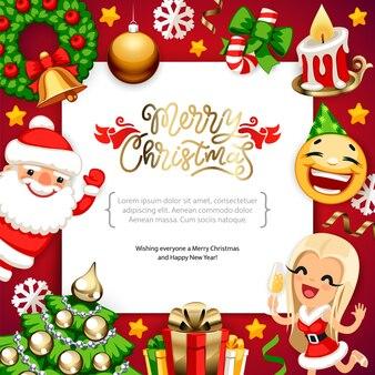 Frohe weihnachten hintergrund mit textfreiraum auf rot
