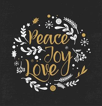 Frohe weihnachten hintergrund mit typografie, schriftzug. grußkarte - frieden, freude, liebe
