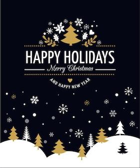 Frohe weihnachten hintergrund mit typografie, schriftzug. schwarze grußkarte
