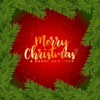 Frohe weihnachten hintergrund mit weihnachtsbaum blätter dekoration