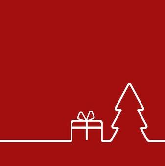Frohe weihnachten-hintergrund mit weihnachtsbaum und geschenk. das konzept der weihnachtsdekoration für sie