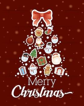Frohe weihnachten hintergrund mit weihnachtsbaum