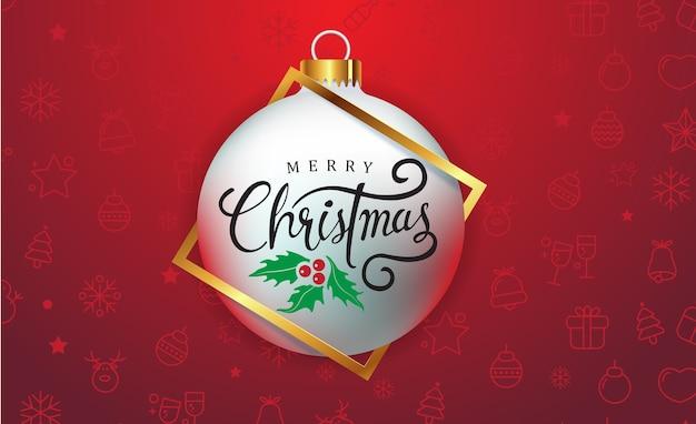 Frohe weihnachten hintergrund mit weihnachtskugel ornament