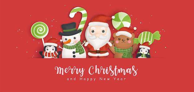 Frohe weihnachten hintergrund mit weihnachtsmann und freunden.