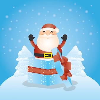 Frohe weihnachten hintergrund mit weihnachtsmann