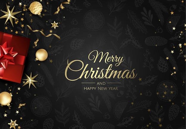 Frohe weihnachten hintergrund mit weihnachtsschmuck