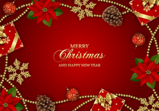 Frohe weihnachten hintergrund mit weihnachtsstern blumen, geschenkboxen, schneeflocken und weihnachtsdekorationen