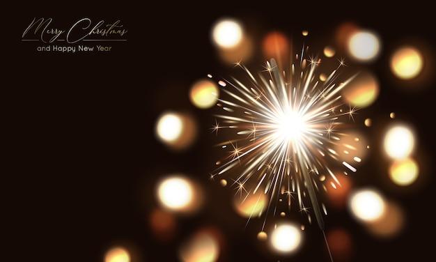 Frohe weihnachten hintergrund mit wunderkerze und lichteffekten
