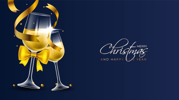 Frohe weihnachten hintergrund mit zwei champagnerflöten