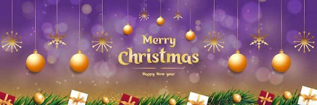 Frohe weihnachten hintergrund promotion mit goldenen sternen und realistischen weihnachtselementen vektor