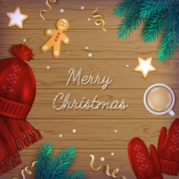 Frohe weihnachten hintergrund. winter elements zweige, mütze, schal, fäustlinge, kekse