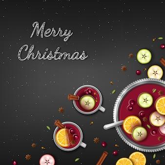 Frohe weihnachten hintergrund. winterpunsch in eine schüssel und tassen orangenscheiben