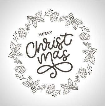 frohe weihnachten retro-schriftzug | kostenlose vektor