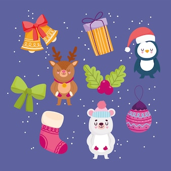 Frohe weihnachten, hintergrunddekoration mit bärenpinguinsockenballgeschenk und glockenvektorillustration
