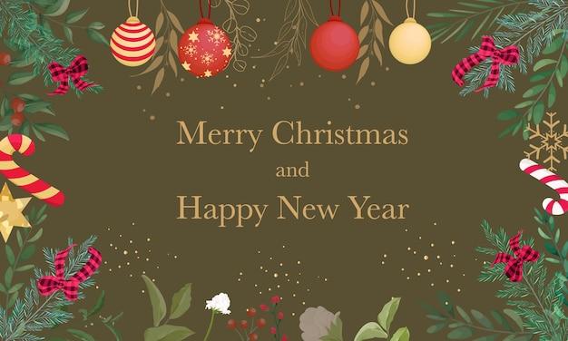 Frohe weihnachten hintergrunddesign mit schöner weihnachtsverzierung