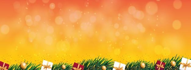Frohe weihnachten hintergrundrahmen mit goldenen sternen und realistischen weihnachtselementen vektor