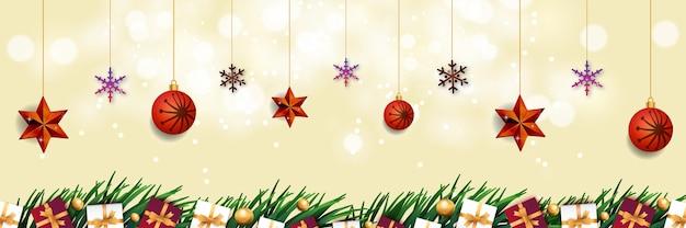 Frohe weihnachten hintergrundrahmen mit realistischen weihnachtselementen neues design premium-vektor